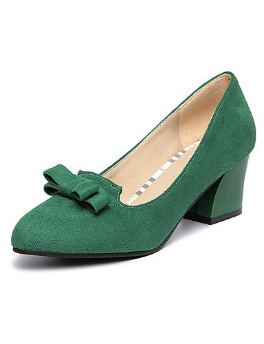 WSS 2016 Chaussures Femme-Bureau & Travail / Décontracté-Noir / Vert / Gris-Gros Talon-Talons / Confort / Bout Pointu-Talons-Laine synthétique green-us5 / eu35 / uk3 / cn34