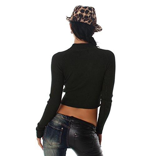 Jela London Damen Pullover Sweat Pulli Bauchfrei Shirt Feinstrick Rollkragen-Ausschnitt Feinripp Langarm Grün