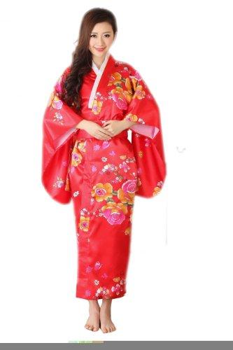 Yue Lian Damen Japanisch Blumen Yukata mit Bindegürtel/Obi Robe Kostüm, Korallenrot, (Cosplay Kostüm Yue)