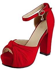 OCHENTA Mujer Zapatos Tacones Estilete de Plataforma Punta Abierta