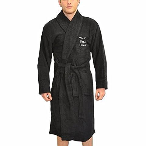 Peignoirs de bain Personnalisés pour hommes robes de chambre cadeaux avec Nom Brodés de Couleur Noir et taille