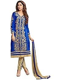 Terramart_ Salwar Set Material For Girls / Women - Chanderi Cotton ( Ink Blue & Mustard )