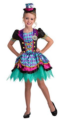 Karneval-Klamotten Hutmacher Kostüm Kinder mit Haarreif Hut Alice im Wunderland Mädchen-Kostüm Größe 128-140