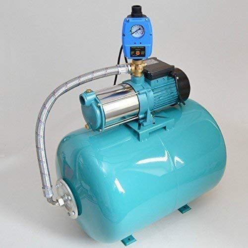 Hauswasserwerk 100 Liter Membrankessel + Pumpe MHI1300 Watt Fördermenge: 6000l/h + Pumpensteuerung + Trockenlaufschutz zum Schutz der Pumpe. (Spannung Vorhang Bar)