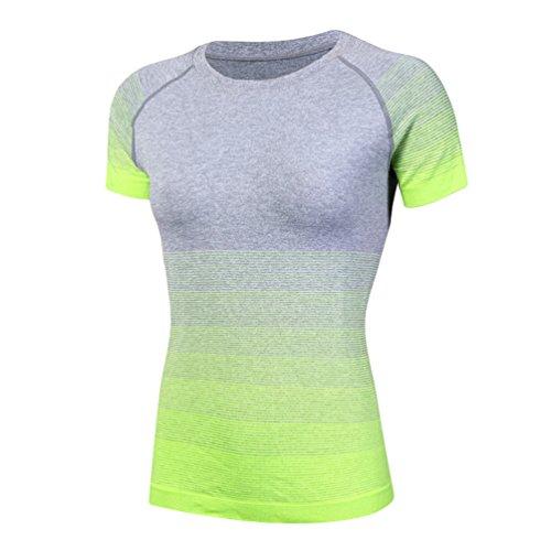 ZKOO Femme T-shirt de Sport Débardeur Compression Tops Avec Manches Courtes Pour Yoga Fitness Respirant Pour Femme Vert L