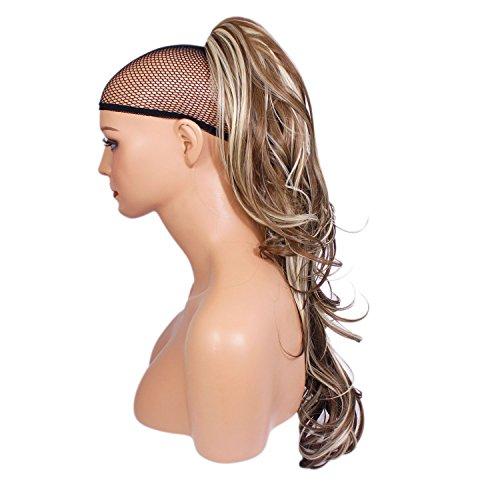 Elegant Hair - 56 cm / 22 pouces queue de cheval flick - Brun cendré/mélange blond #10/613 -Clip-in pièce de extensions de cheveux réversible - Avec griffe-clip - 30 Couleurs - 250g