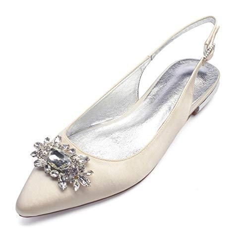 Zxstz scarpe da donna satin comfort ballerina scarpe da sposa punta piatta tacco a punta con strass scintillanti per matrimonio, avorio, 41