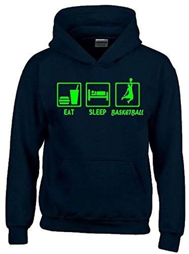 EAT SLEEP BASKETBALL Kinder Sweatshirt mit Kapuze HOODIE schwarz-green, Gr.164cm