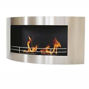 Cheminée bio-éthanol Hudson acier 120cm - Fixation Murale - 2 Brûleurs 1.5 litres - Autonomie 3 heures - Puissance 3,6kW