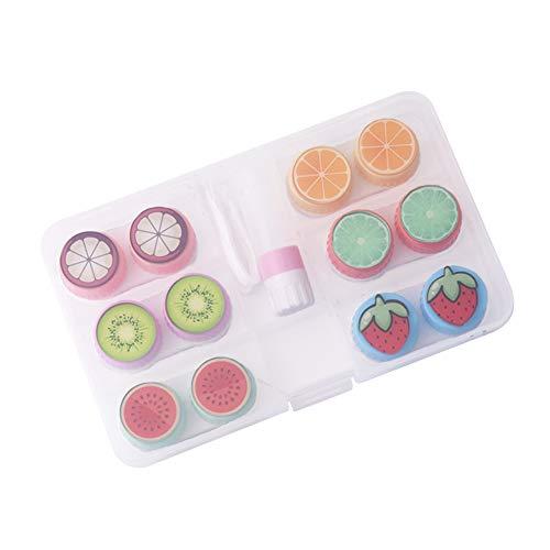 JUNGEN Caja de Lentes de Contacto de Estilo Fruto con 6 Estuche de Lentillas Pinza Aplicador Botella de Solución de Lente Portátil Viaje Kit