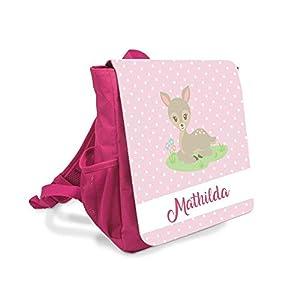 Kinder-rucksack für Mädchen mit Namen u. Reh