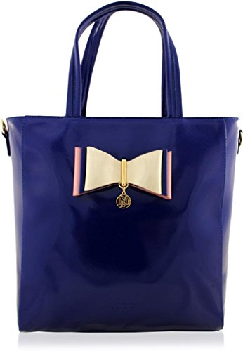 LYDC BOW LARGE TOTE TRAPEZIUM SHOPPER HANDBAG WITH DUST BAG DARK BLUE