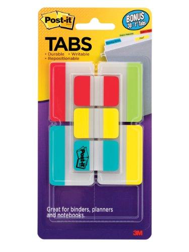 Post-it pestañas Value Pack, varios colores primarios, 1y 1,27cm tamaños, 114-tabs/Pack (686-vad2)