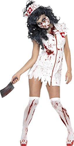 Damen Halloween Fancy Dress Kostüm weiblich Zombie Krankenschwester Kostüm Weiß Gr. S, (Weiblich Zombie Kostüme)