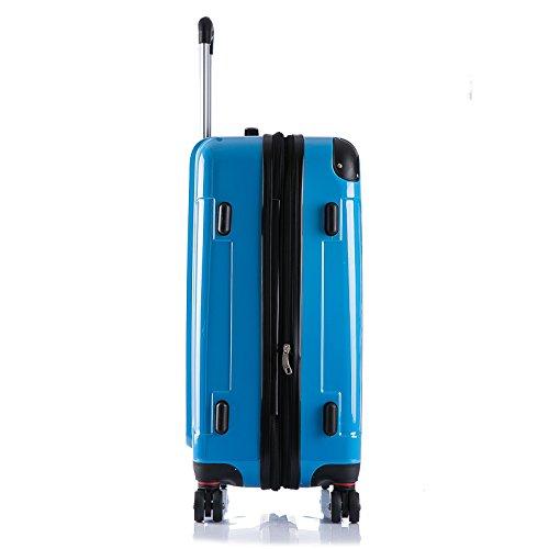 WOLTU RK4212bl, Reise Koffer Trolley Hartschale Volumen erweiterbar, Reisekoffer Hartschalenkoffer 4 Rollen, M/L/XL/Set, leicht und günstig, Blau 3er Set (M+L+XL) - 4