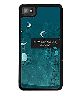Fuson Premium To The Moon Metal Printed with Hard Plastic Back Case Cover for Blackberry Z10