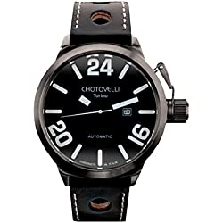 Chotovelli Italian Navy Men's Automatic Watch Analogue display Black Leather Strap 79.11