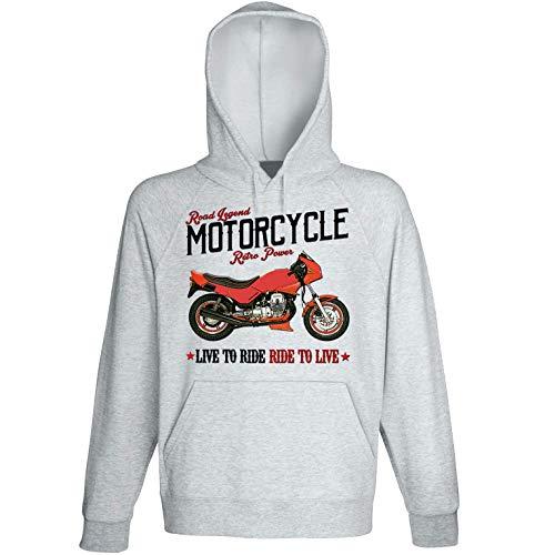 Teesandengines Moto Guzzi V50 Monza Felpa Grigia con Cappuccio di Cotone Size Medium