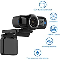 Dericam 1080P Auto Focus Live Streaming Webcam, USB Plug and Play Desktop/Laptop/Computer Camera, 90° Wide Viewing Angle, Privacy Protection Button, Built-in Mic, Flexible Rotatable Clip, W2P