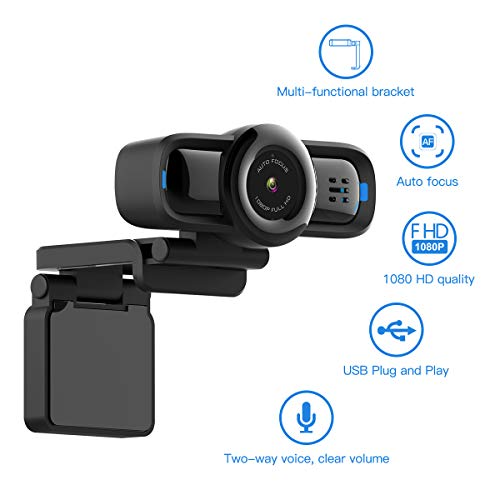 Deric 1080P Auto Focus Live Streaming-Webcam, USB Plug and Play Desktop/Laptop/Computer Kamera, 90° Weitwinkel, Privatsphäre-Schutz-Taste, integriertes Mikrofon, flexibel, drehbarer Clip, W2P