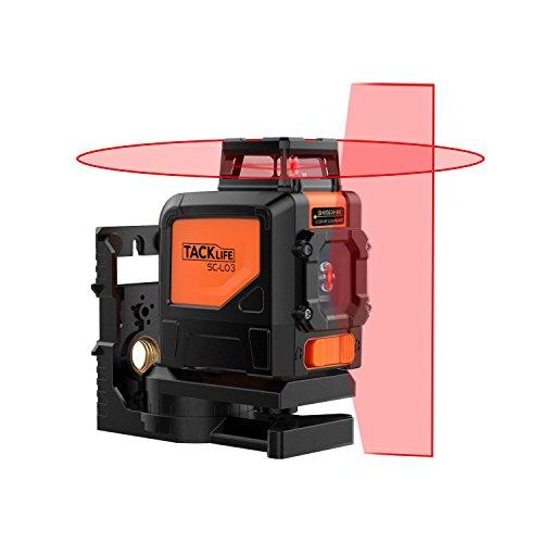 Tacklife SC L03 Klassischer Kreuzlinien-Laser mit Messbereich 30M und Neigungsfunktion, 360 Grad Horizontaler Linie, Linienlaser IP 54 (inkl. Schutztasche, Magnetische schwenkbare Haltung)