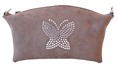 Borsa Donna, Pikla Mini Sachet Bag (Mini bustina) in camoscio con tracolla in catena. Chiusura con cerniera. Fodera interna. Made in Italy. Taupe