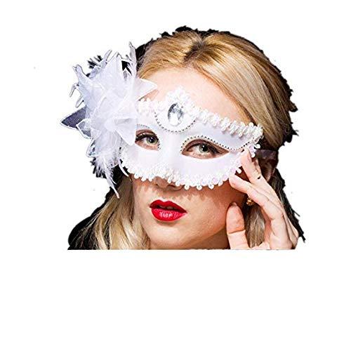 Schleier Wache Bildschirm Domino falsche Front Maske Mädchen Kind Prinzessin Partei Stütze Gesicht Make-up Tanzmaske halbes Gesicht Lilie weiß,White ()
