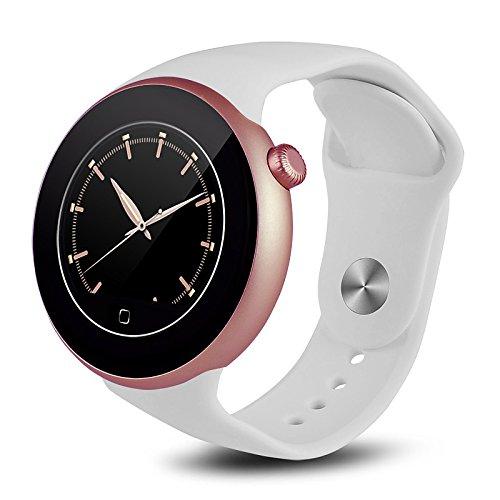 Lemumu 1.2Inch Ituf neuen Stil Herzfrequenz Tracker smart Watch C 1 wasserdichte Armbanduhr Sport Schrittzähler Smartwatch für iOS Android Smartphone, Weiß Band Windows Mobile-telefon