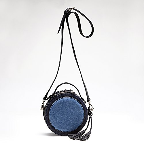 Miss Fong, motivo: borsetta da donna, moda-Borsa da donna con tracolla, con nappine e tracolla da spalla regolabile e staccabile Blu (Denim)