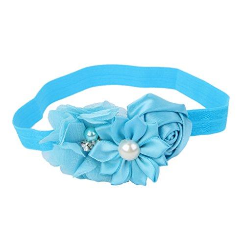 Bandeau Bébé Fille Accessoire de Photographie Bande Elastique de Cheveux (Bleu)