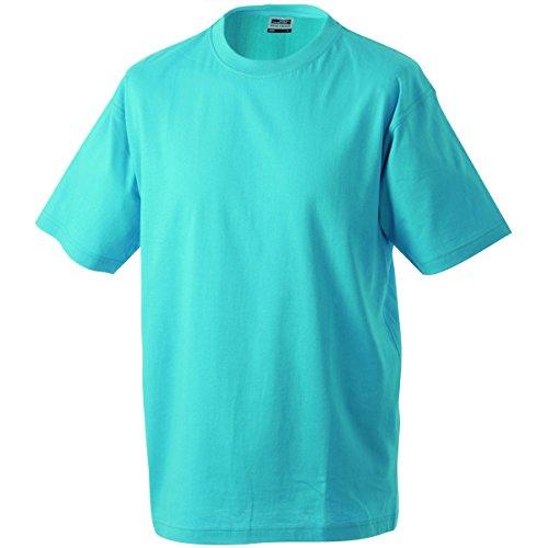 JAMES & NICHOLSON Herren T-Shirt, Einfarbig Blau - Türkisblau