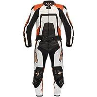 XLS Orange Carbon Lederkombi in Kurzgröße schwarz orange