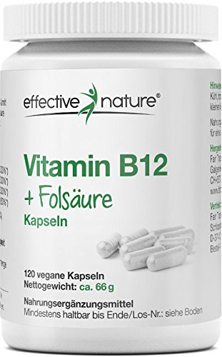 B12-vitamine Der Natur Aus (effective nature Vitamin B12 + Folsäure - 120 vegane Kapseln - Zur Ergänzung bei veganer Lebensweise und während der Schwangerschaft)