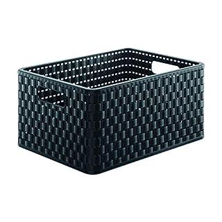 Rotho 1115308080 Aufbewahrungskiste Dekobox Country in Rattan-Optik aus Kunststoff (PP), Format A4, Inhalt ca. 18 l, ca. 36.8 x 27.8 x 19.1 cm (LxBxH), schwarz