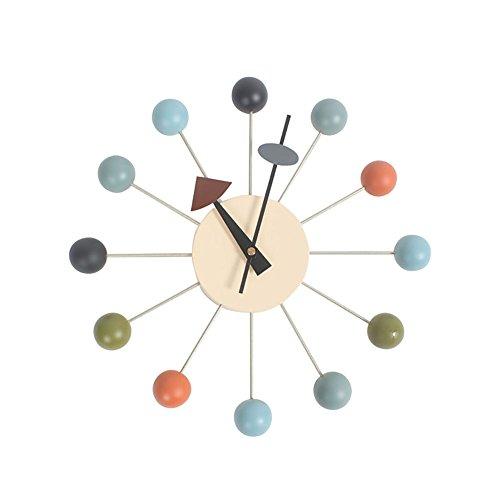 HHYS Multicolore Nelson Ball Horloge Boules De Bois Support En Aluminium Atomique Ballon Mur Bonbons L'horloge F103
