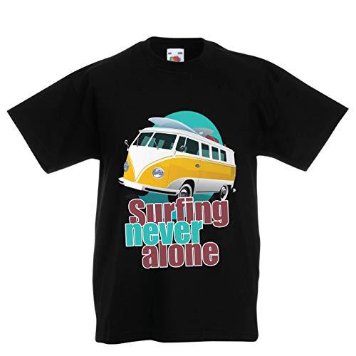 lepni.me Kinder Jungen/Mädchen T-Shirt Surfen nie allein, Retro-Van, Surfer-Ferienkleidung (14-15 Years Schwarz Mehrfarben) (Vans-junioren)