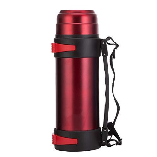Huiit 2L Edelstahl Vakuum Isolierte Glaskolben Thermische Karaffe Große Glaskolben Heißwasserflaschen,Red,2.2L -