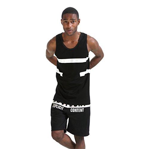 Pizoff Herren Hip Hop High Street Fashion Lang geschnittenes Trägershirt P3253-black