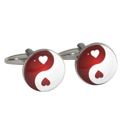 Rot Herz Yin Yang Manschettenknöpfe in Geschenkbox