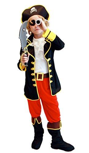 Happy Cherry Kinder Jungen Piraten Kostüm Zubehör Cosplay Kostüm für Fantastisches Halloween Karneval Party Bühne Größe M