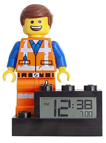LEGO Movie 2 9003967 Emmet Kinder-Wecker mit Minifigur und Hintergrundbeleuchtung | Farbe | Kunststoff | 24 cm hoch | LCD-Display | Junge/Mädchen | offiziell, Orange, 6