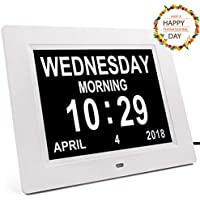 Digital Dementia Clock, Memory Loss Day Clock with Large Non-Abbreviated Day & Month Display, Brightness Adjustable, 8 Languages, 3 Medication Reminders, 5 Daily Alarms Digital Wall Clocks, White
