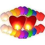 Lot de 22 pièces Lanternes volantes multicolores inclus 2 coeurs rouges géants pour fête mariage amoureux romantique