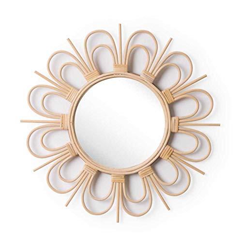 Espejo de pared decorativo redondo Flor, ratán natural, estilo étnico & boho chic, nórdico, bonito...