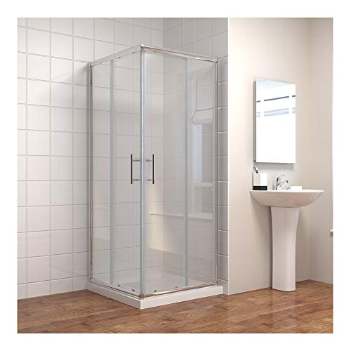Duschkabine 90x90x185cm Eckeinstieg Duschabtrennung Doppel Schiebetür Echtglas Duschtür (Duschkabine Schiebetür)