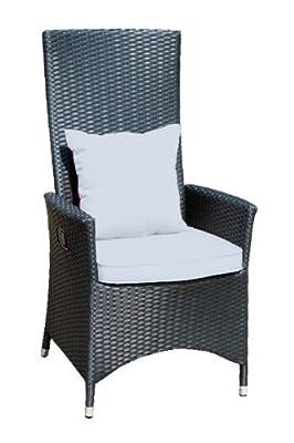 Ambientehome verstellbarer Polyrattan Sessel Stuhl Nairobi, schwarz