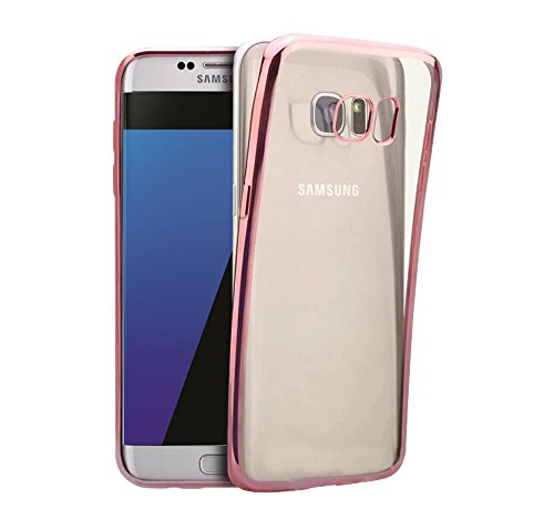 Minto iPhone 6 Plus/ 6s Plus Hülle, 0.8mm Ultradünne mit Überzug Farbig Rahmen Silber TPU Schutzhülle Weiche Silikon Transparent Case Cover für iPhone 6 Plus / 6S Plus Rosegold -s7 edge