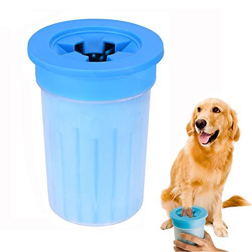 Anpole Limpiador de Patas de Perro, Cepillo de pies para Mascotas portátil para Perros Limpia Suavemente y rápidamente Las Patas sucias con Tapa de Taza