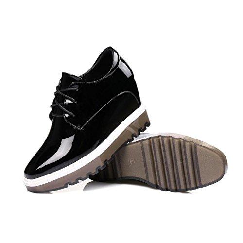 W&LMScarpe singole Femmina Tacco alto Spessore inferiore smorzato Scarpe basse scarpe casual Tacco alto invisibile Scarpe posto di lavoro Scarpe all'aperto Black
