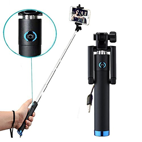 Mini Selfie Stick Selfie-Stangen Ausfahrbar [ohne Akku] Kabelgebunden Stab für Huawei Honor Magic - mit integriertem Selbstauslöser - Blau